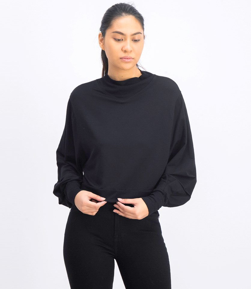 Women's Plain Long Sleeve Sweater, Black