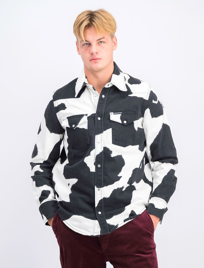 Men's Foundation Western Shirt, Cow Print