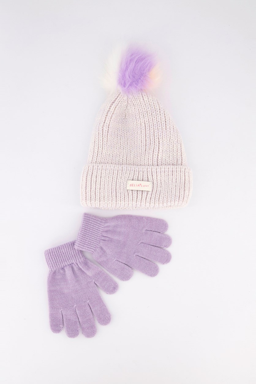Kids Girls 2-Pc Hat & Gloves, Lavender