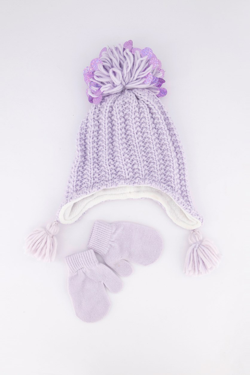 Girls 2-Pc. Sequinned Hat & Gloves, Purple