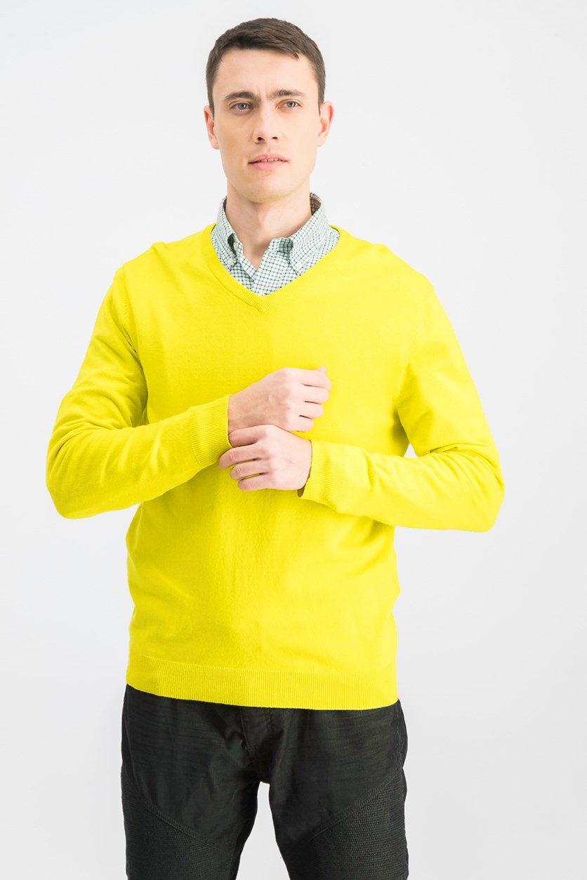 Men's V-Neck Sweater, Yellow