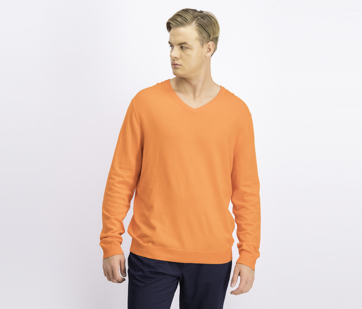Men's V-Neck Sweater, Ginger Wrap