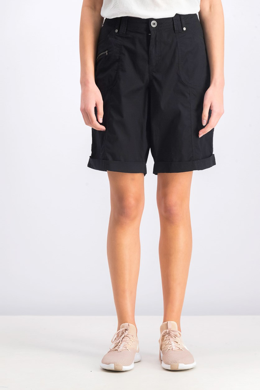 Women's Cuffed Cargo Shorts, Deep Black