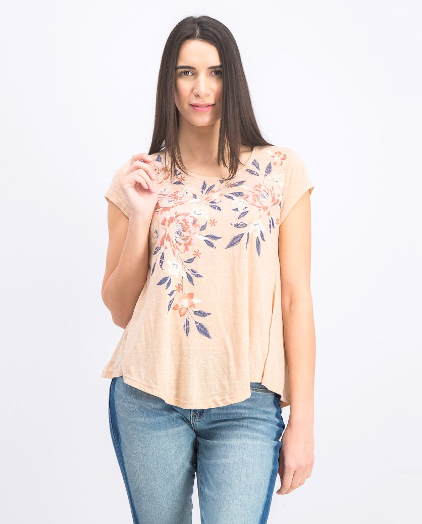 Women Petite Placed-Print Swing T-Shirt, Orchid Shimmer
