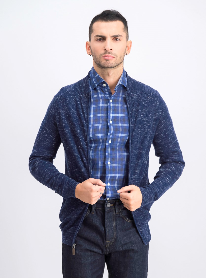 Mens Textured Cardigan Sweater, Navy Blue