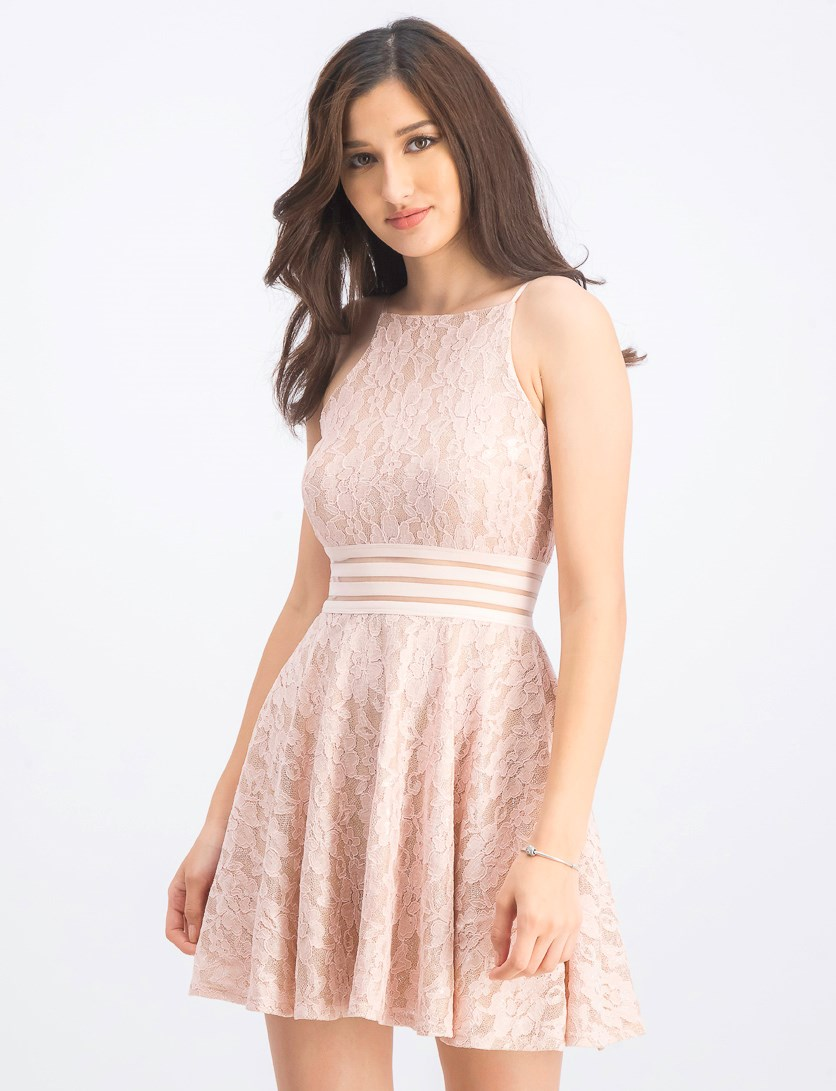Juniors Lace Illusion Dress, Blush