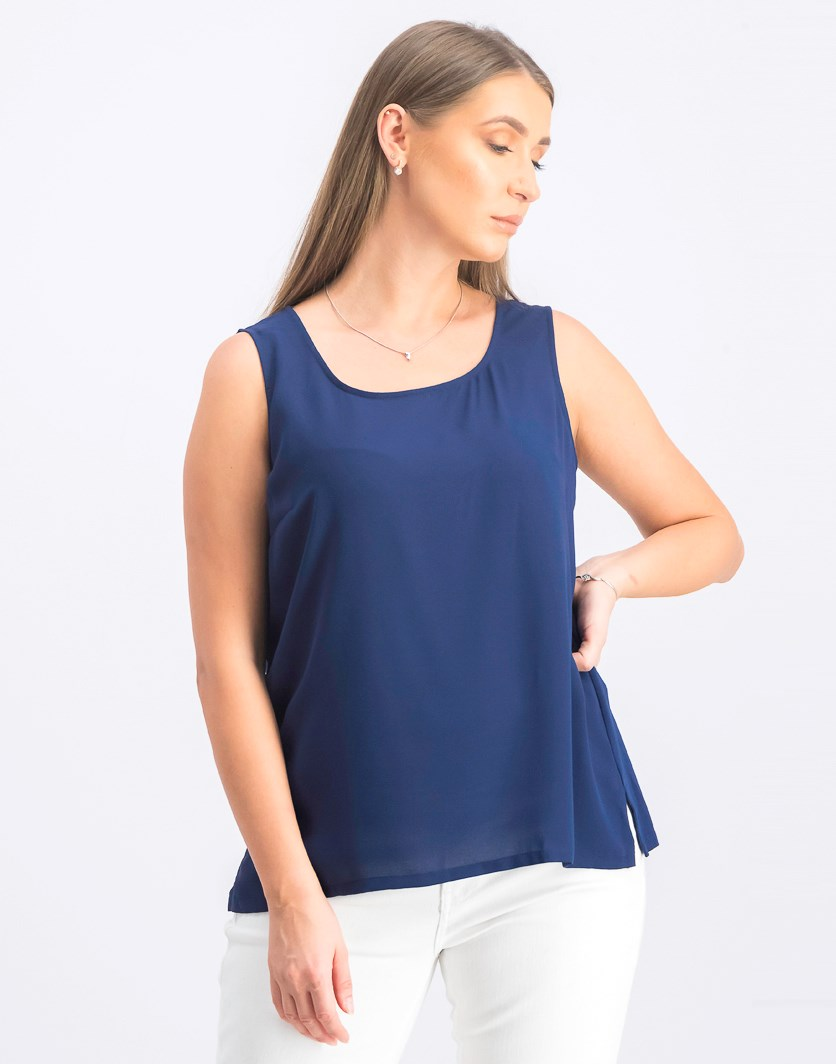 Women's Mixed-Media Shell Top, Marine Blue