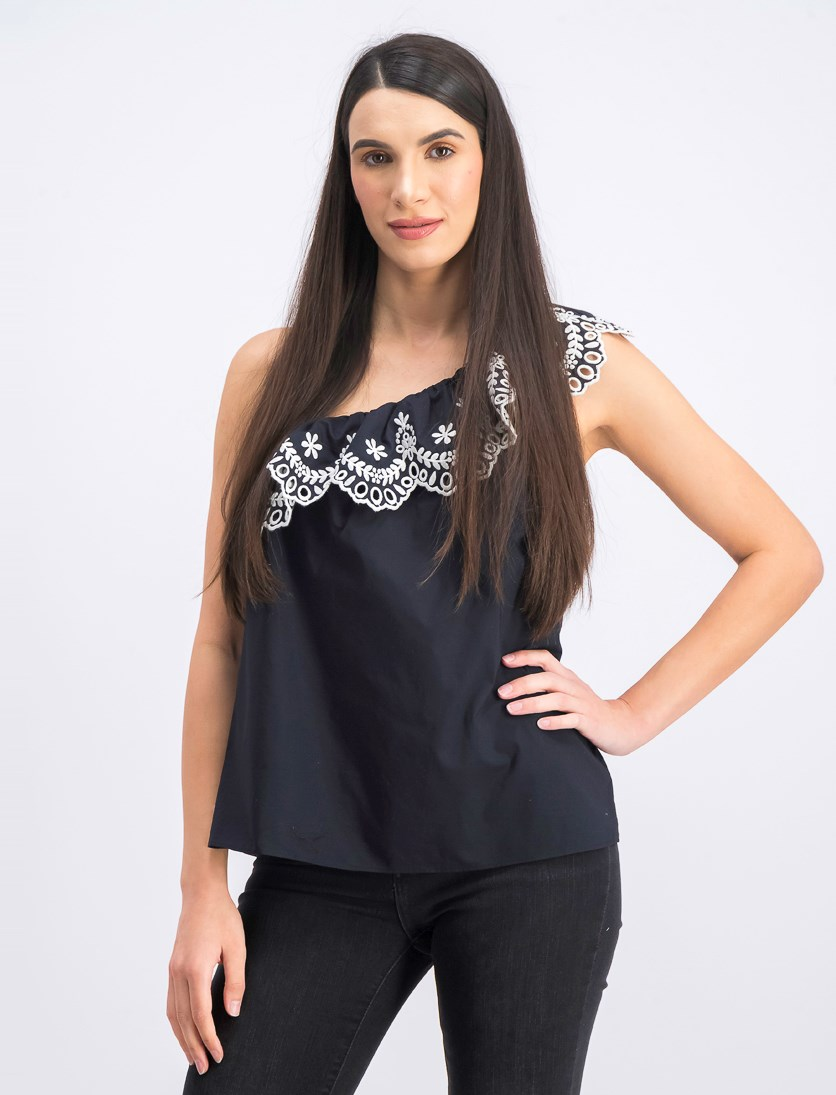 Women's Embroidered One-Shoulder Top, Black