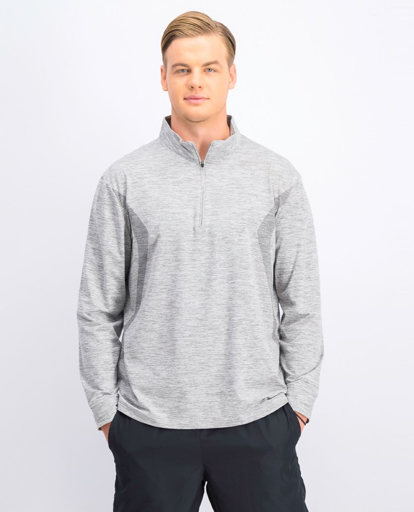 Mens Quarter Zip Activewear Long Sleeve, Light Grey Heather