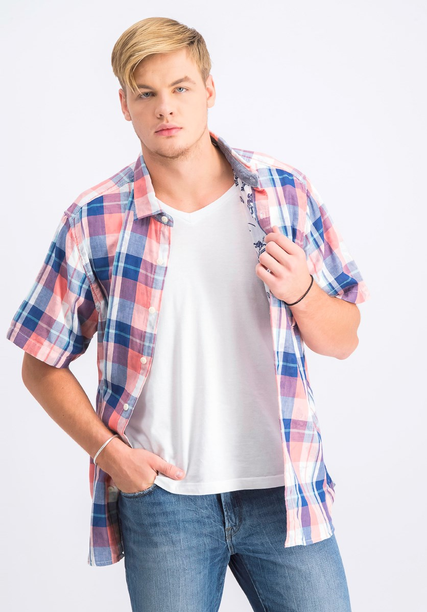 Men's Double Fauna Plaid Shirt, Burnt Coral