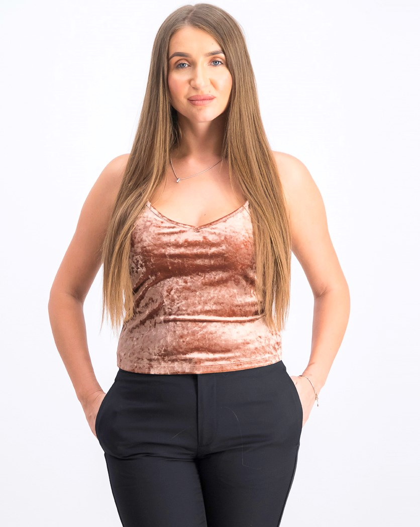 Women's Velvet Top, Light Brown