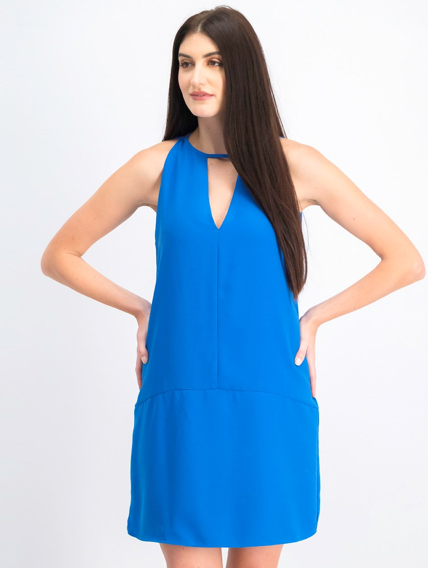 Women's Sleeveless Choker Shift Dress, Cobalt