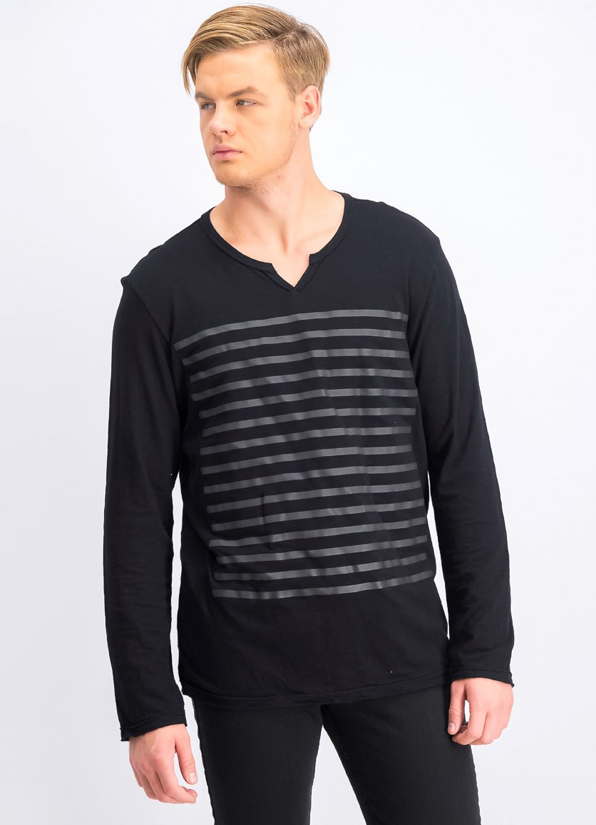 Men's Split-Neck Striped Shirt, Black