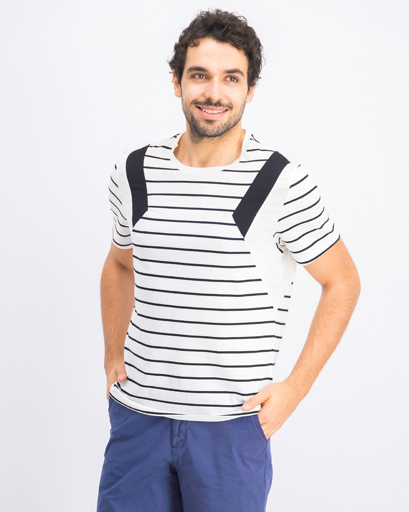 Men's Striped T-Shirt, White Pure