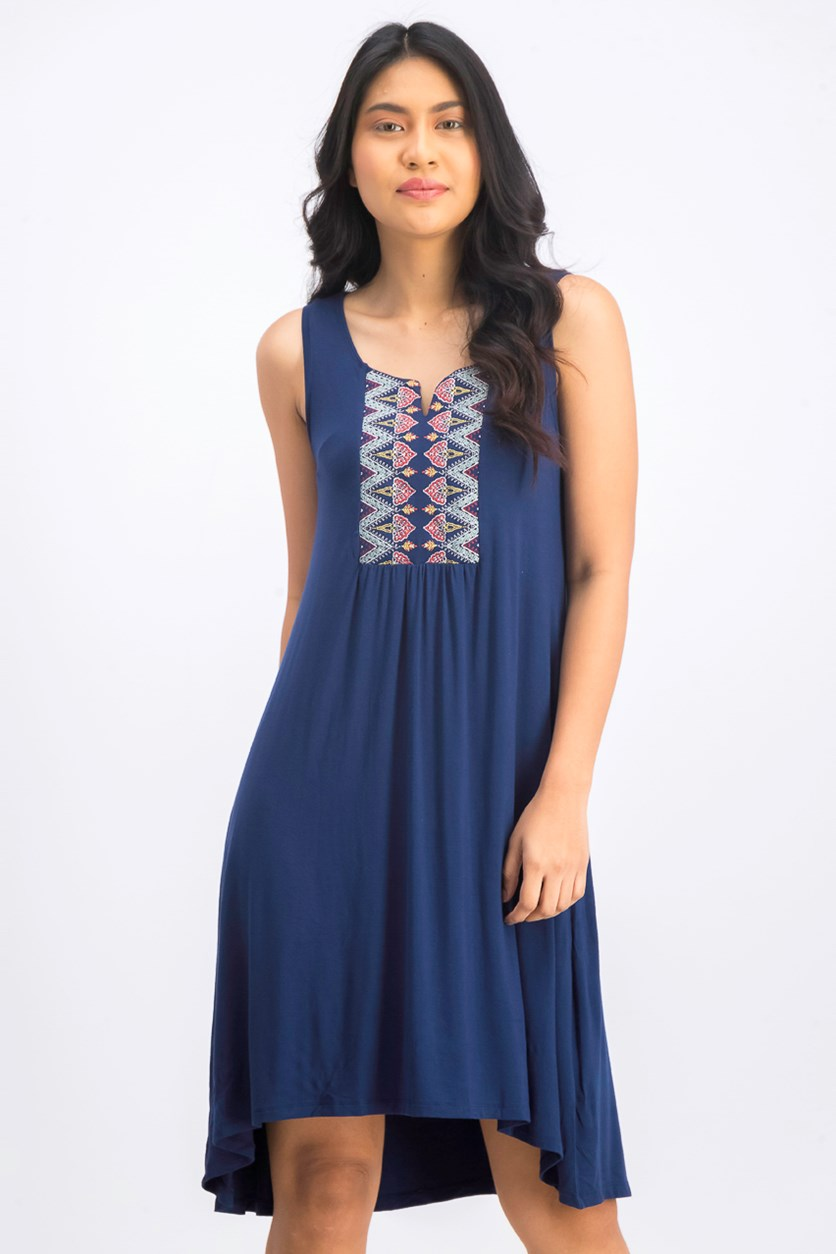 Petite Embroidered High-Low Dress, Navy Blue