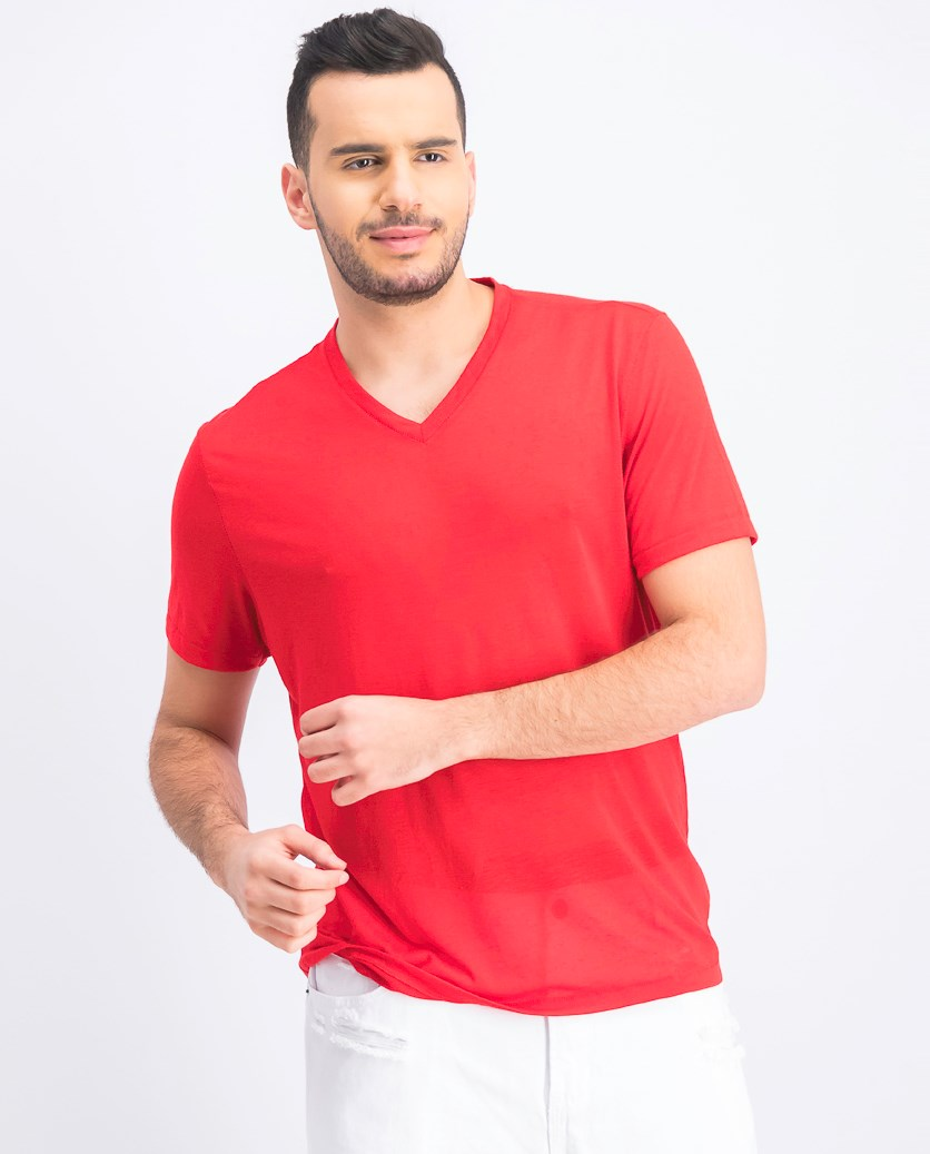 Mens V-Neck T-Shirt, Licorice Red
