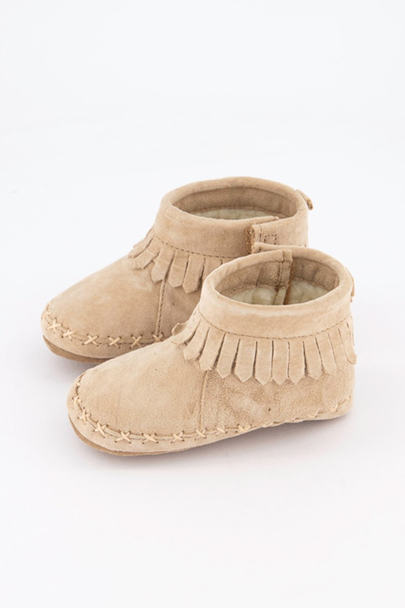 Toddler Cozy Ankle Moccasin Soft Sole Shoes, Taupe