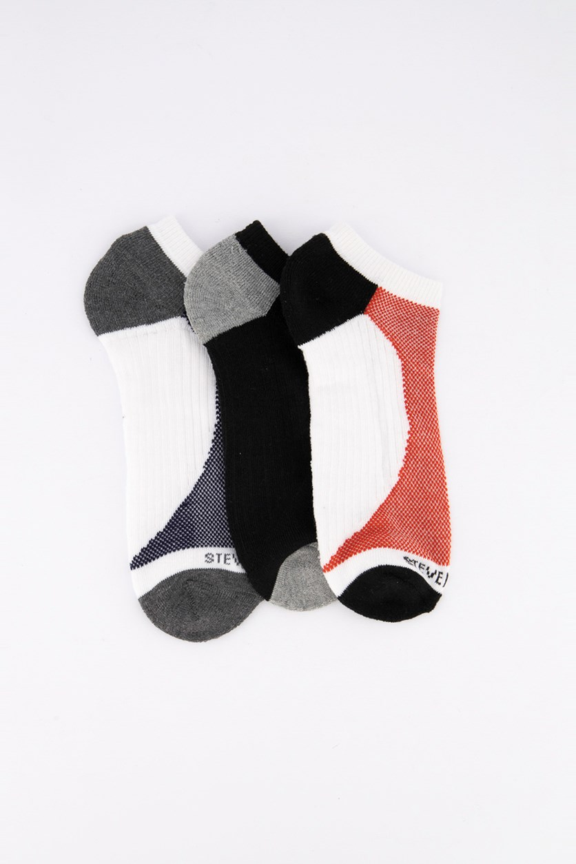 Men's Low Cuts 3Pk Socks, White/Grey/Black