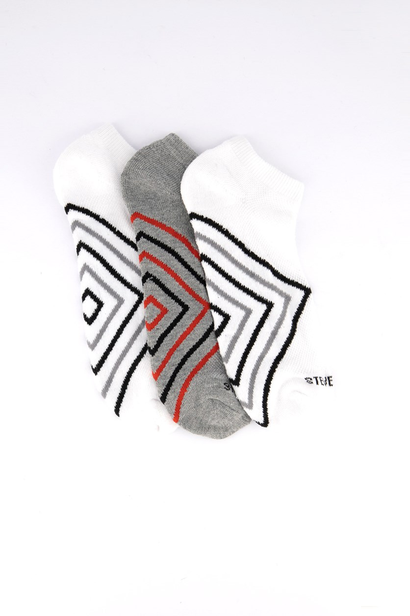 Men's 3pk Socks, Grey/White