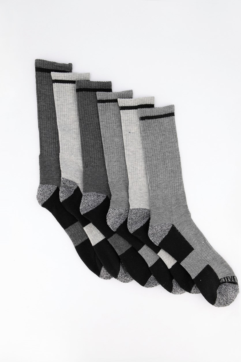 Men's Crew 6pk Socks, Black/Grey