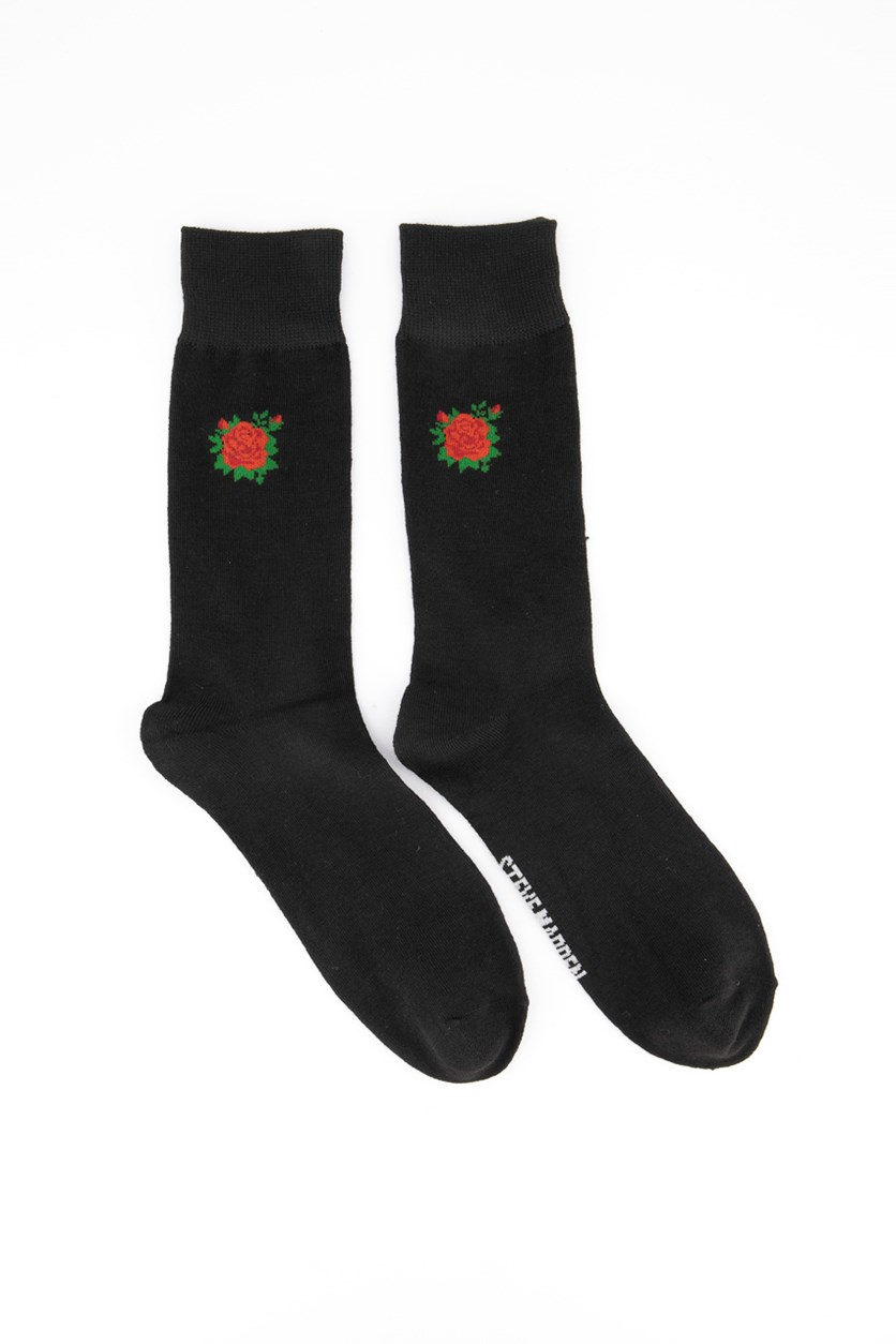 Men's 1-Pair Rose Print Crew Socks, Black