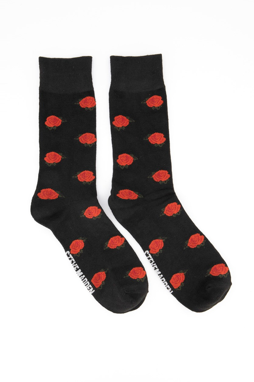 Men's Floral Socks, Black/Red