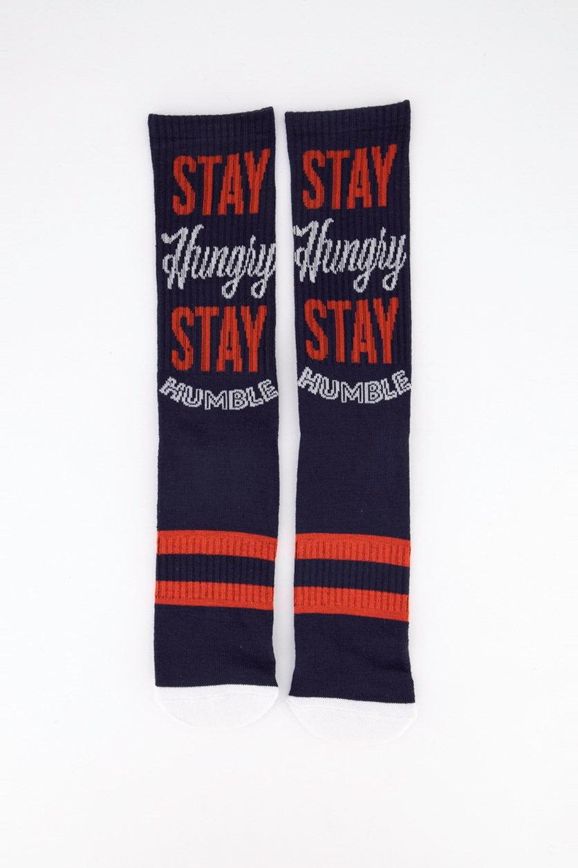 Men's Rise & Grind Crew Sock, Navy/Red