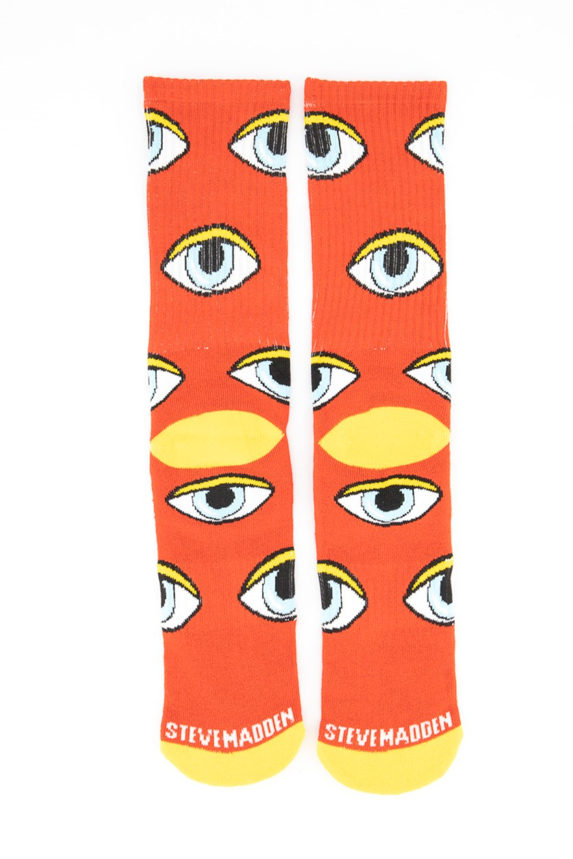 Men's Rise & Grind Crew Printed Socks, Red