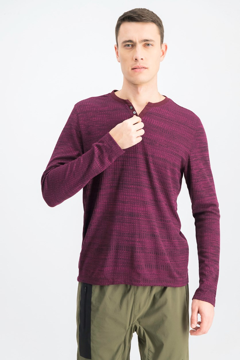 Men's Textured Space-Dyed Stretch Henley Shirt, Port