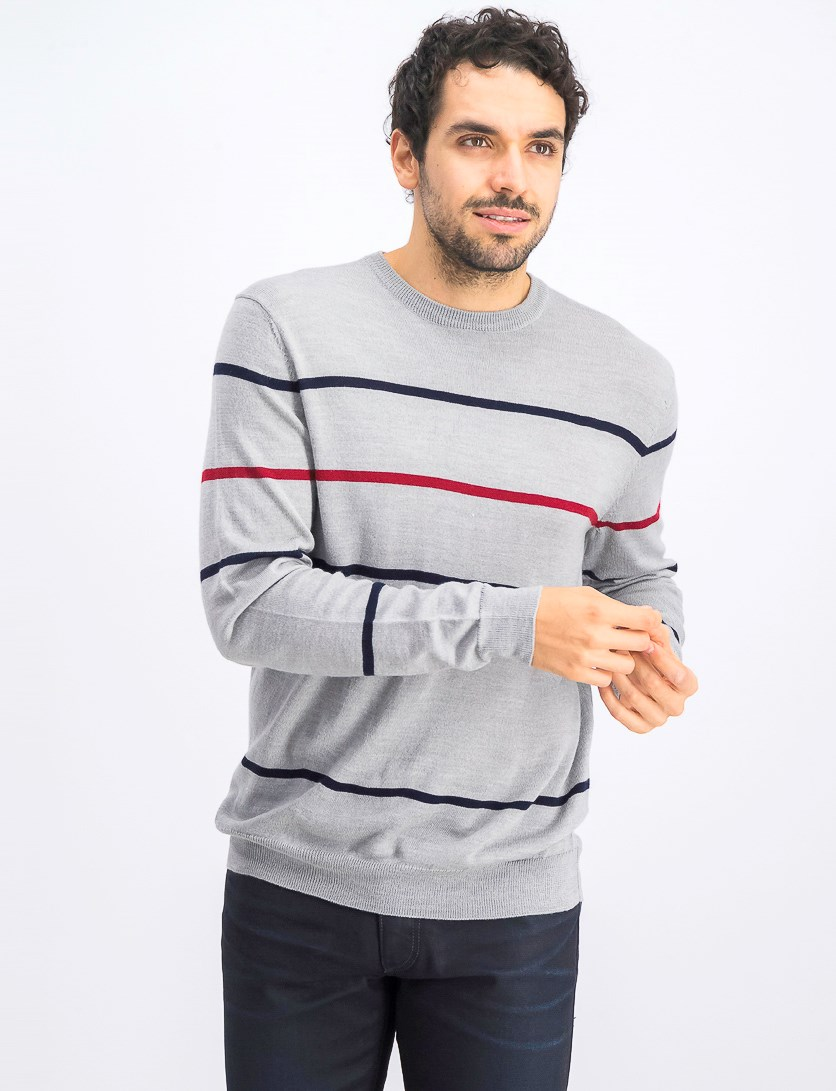 Merino Pop Striped Sweater, Smoke Heather