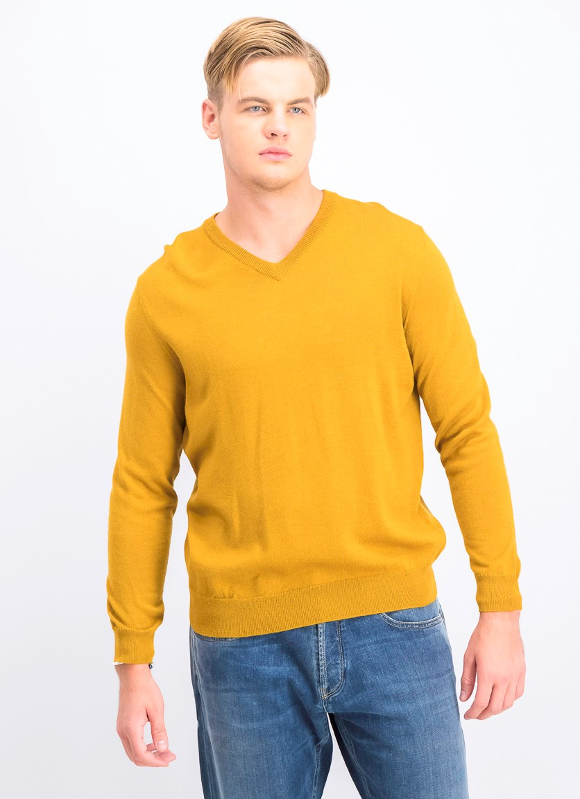 Mens V-Neck Sweater, Gold Dust