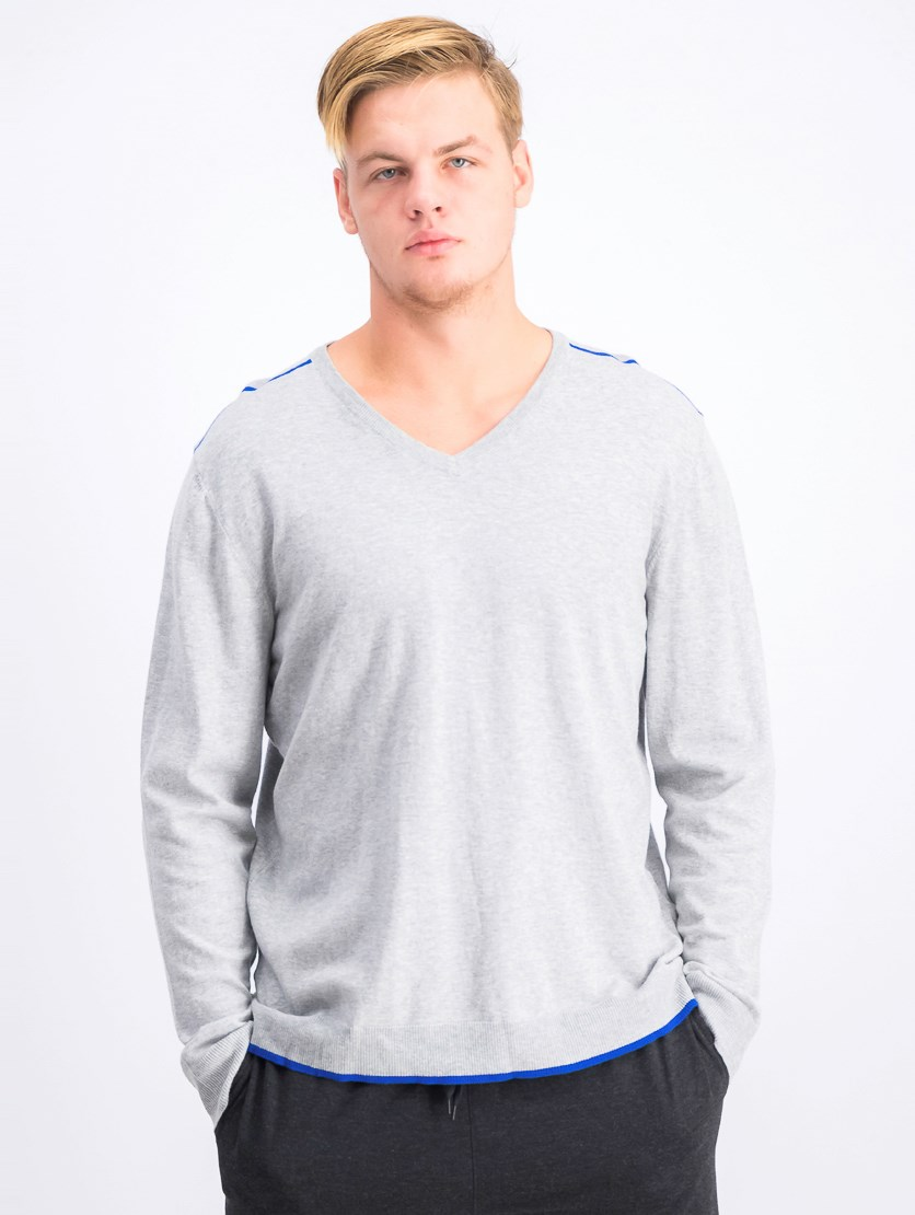 Men's V-Neck Sweater, Grey Heather