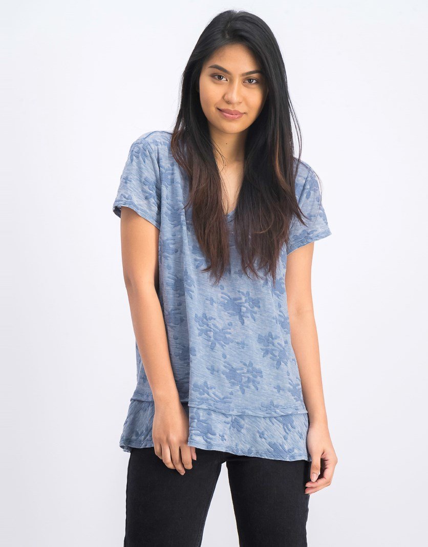 Womens Burnout Ruffle-Hem Top, Chambray Haze