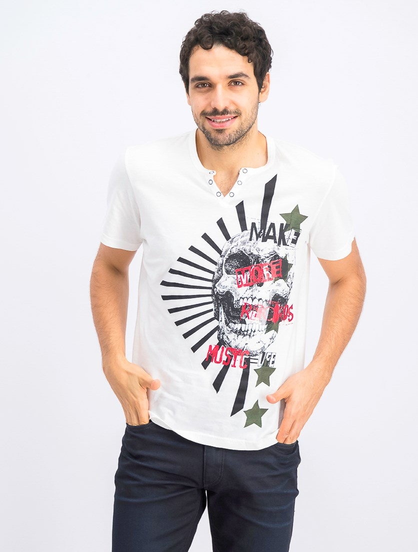 Men's Skull Graphic Split-Neck T-Shirt, White