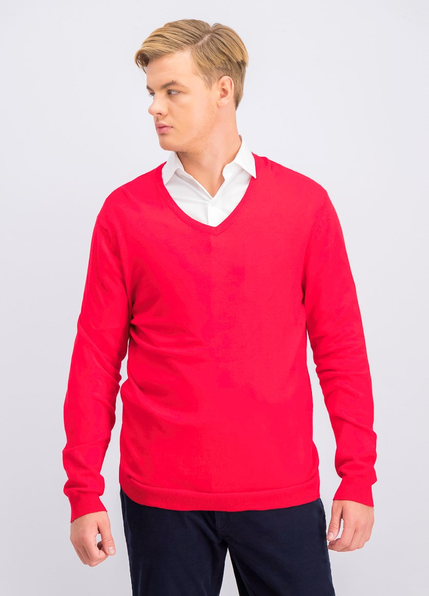 Men's V-Neck Sweater, Red