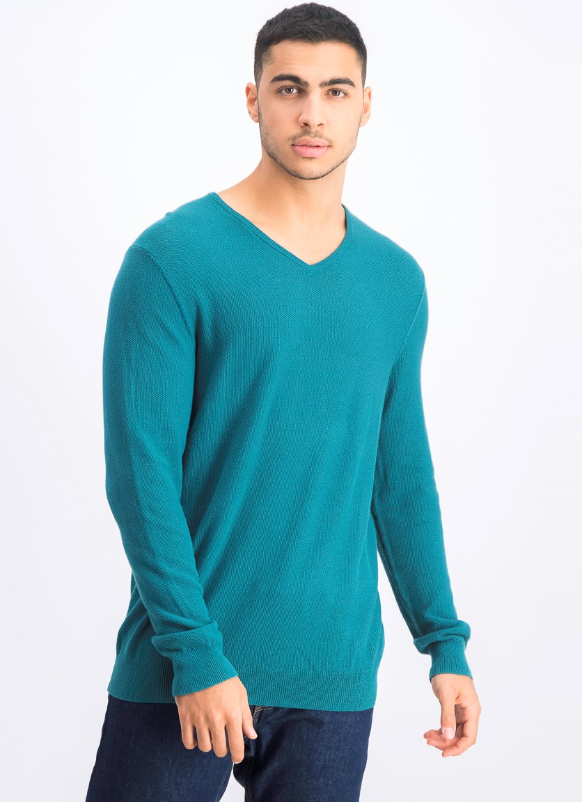 Mens Seed Stitched Cotton Sweater, Pacific