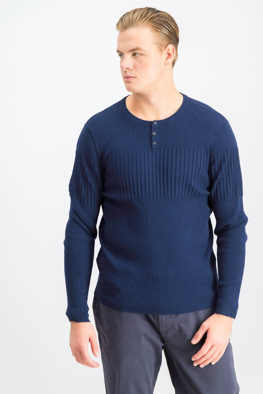 Men's Long Sleeve Sweater, Navy