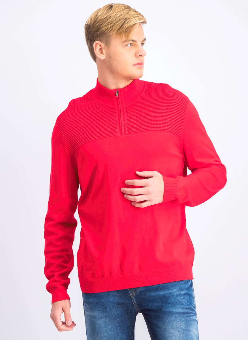 Men's Mock Neck Long Sleeves Sweater, Cherry Candy