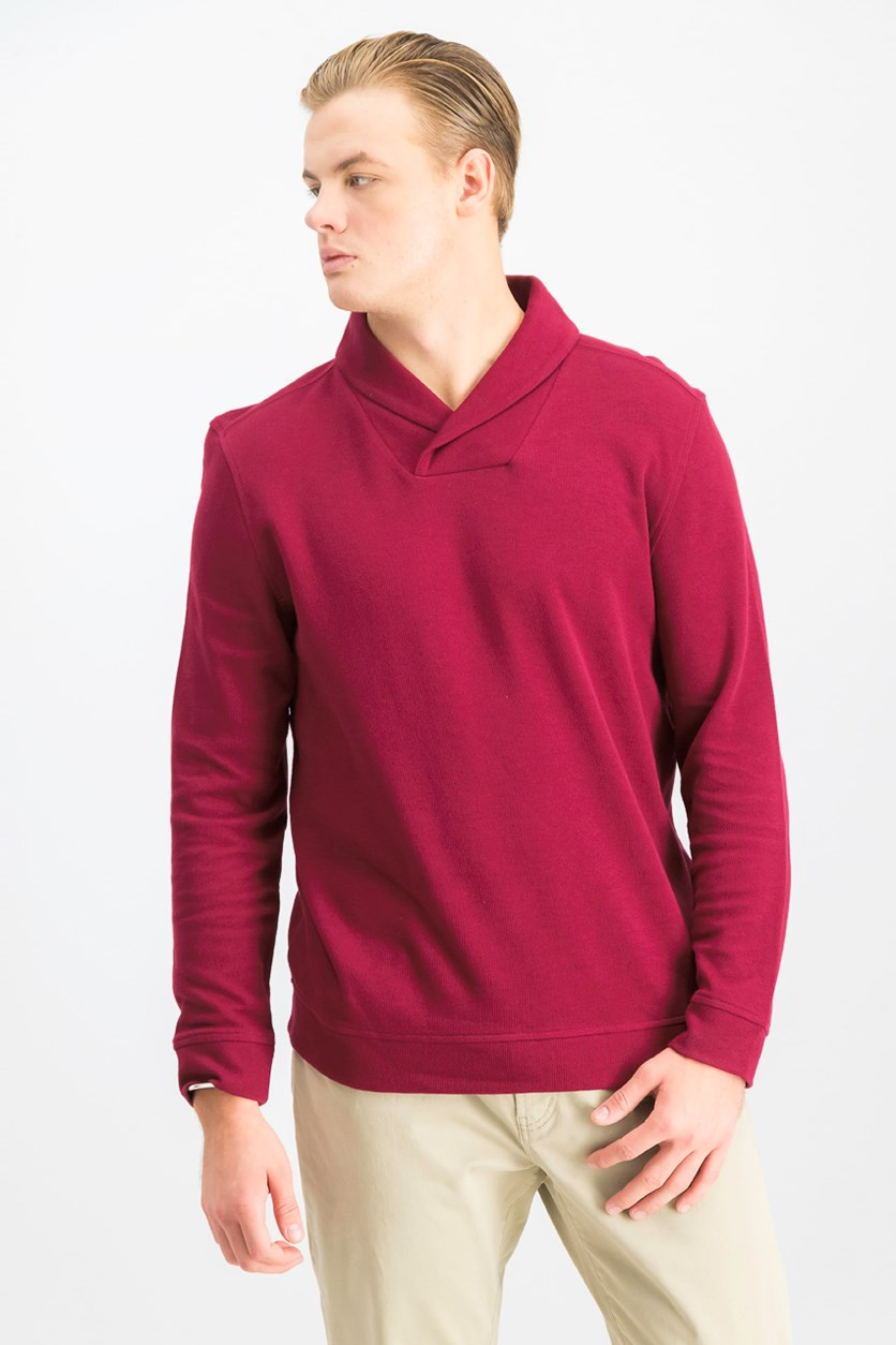 Men's Shawl Collar Pullover Sweater, Cherry Pie