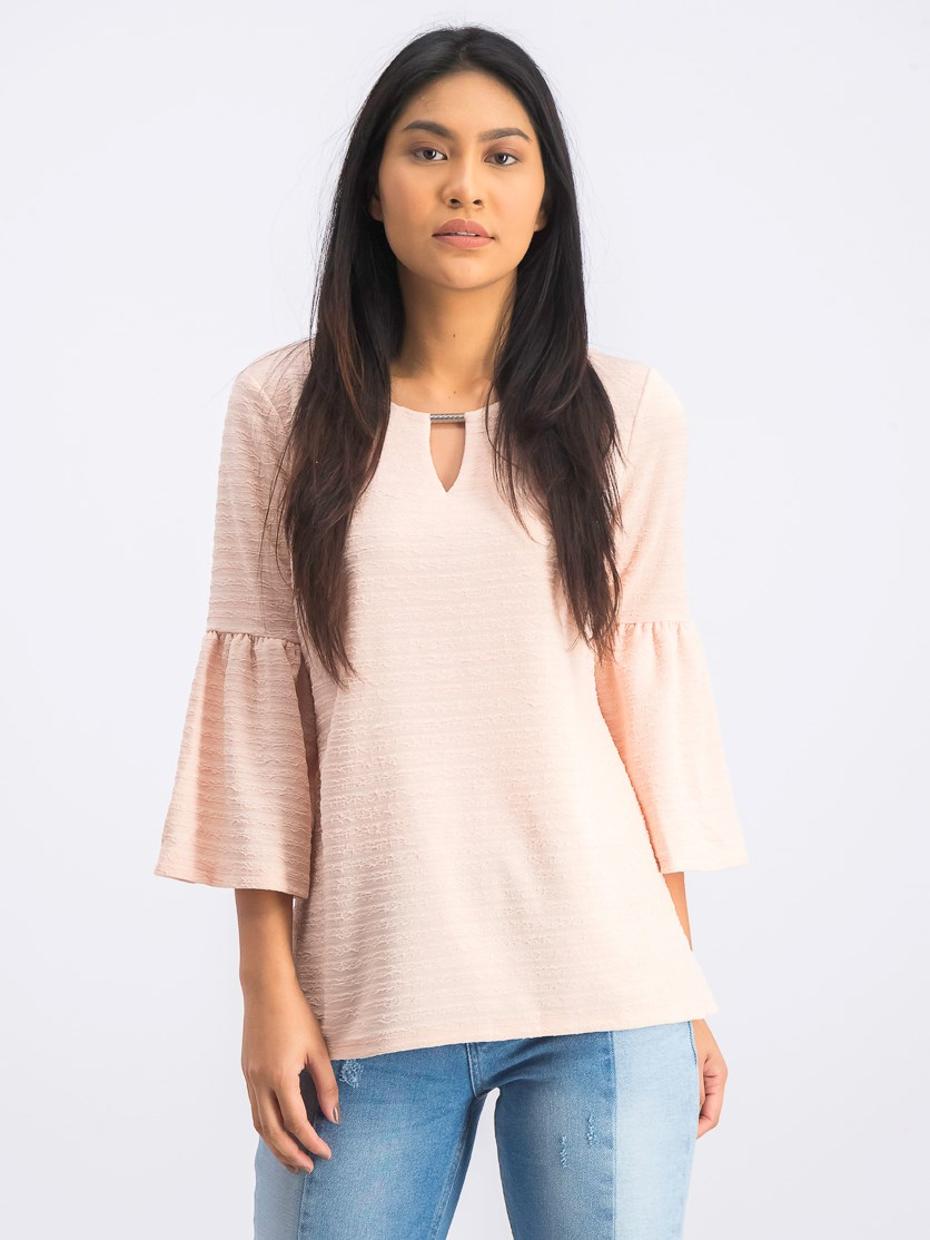 Women's Keyhole Hardware Bell-Sleeve Top,  Casabella