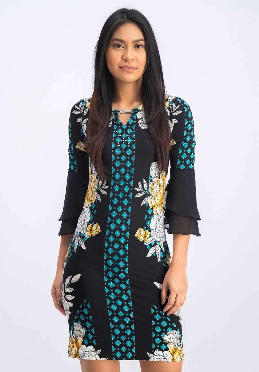 Petite Printed Tulip-Sleeve Dress, Deep Black Combo