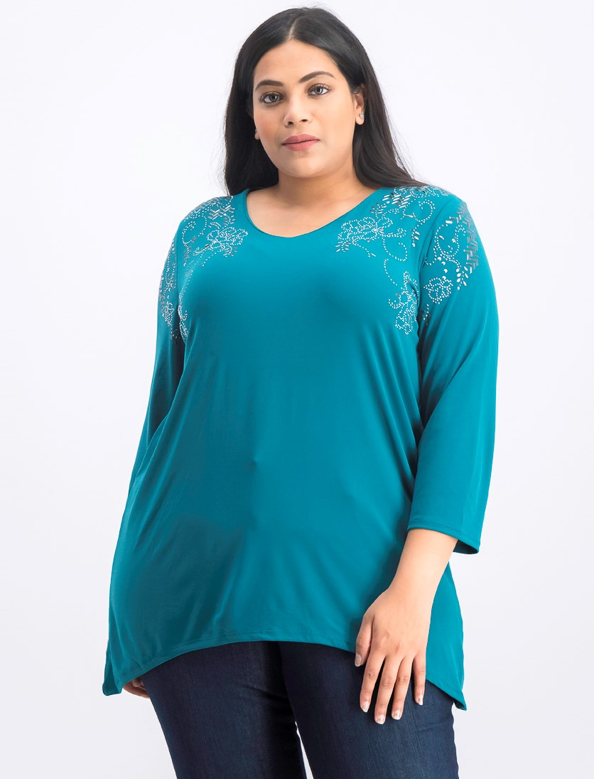 Women's Plus Size Hem Tunic Top, Teal Abyss
