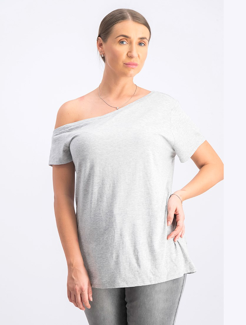 Women's Modal One Shoulder T-Shirt, Grey