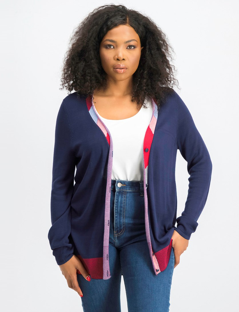 Tipped Boyfriend Cardigan Sweater, Intrepid Blue