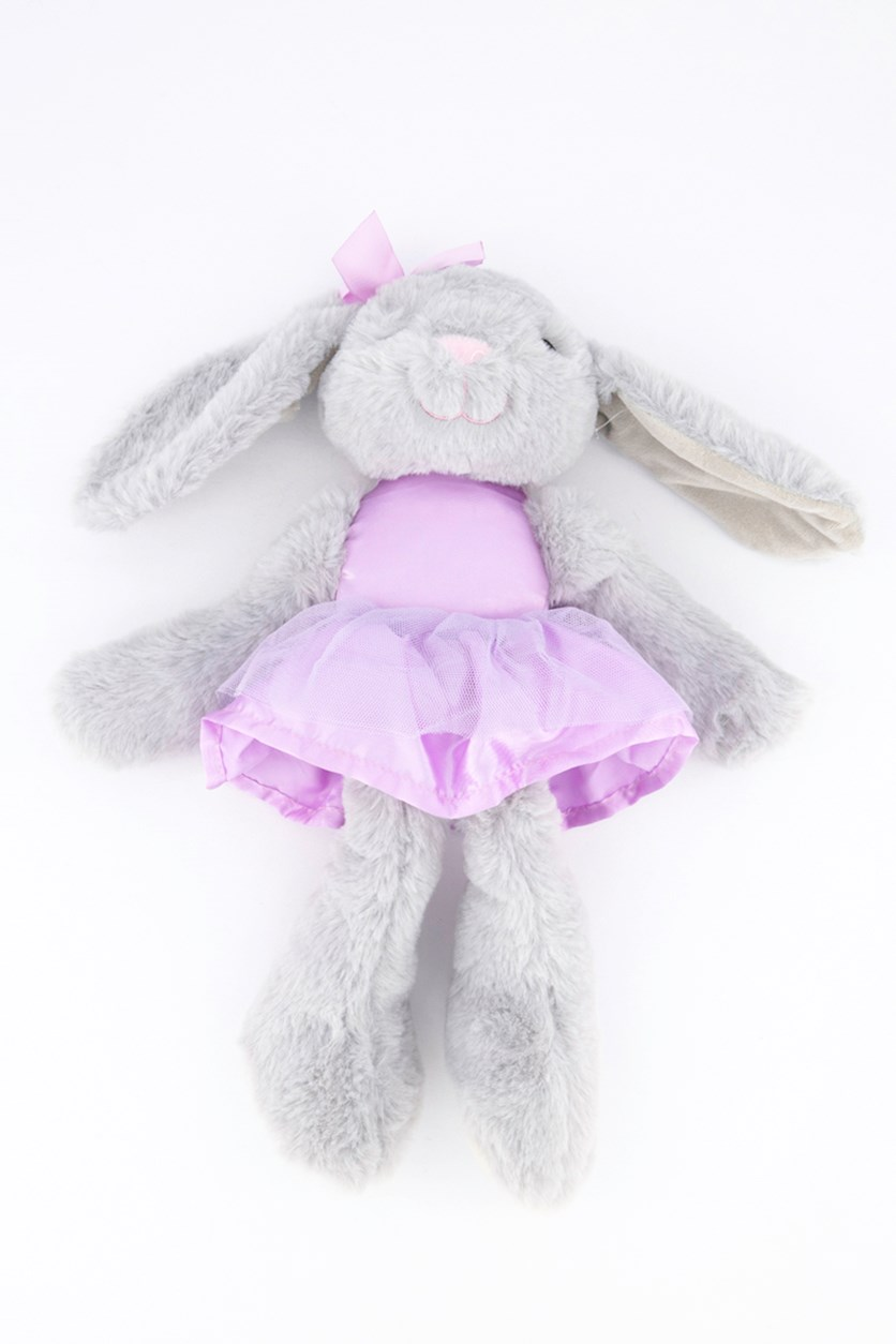 Baby Ballerina Plush With Rattle, Grey/Purple