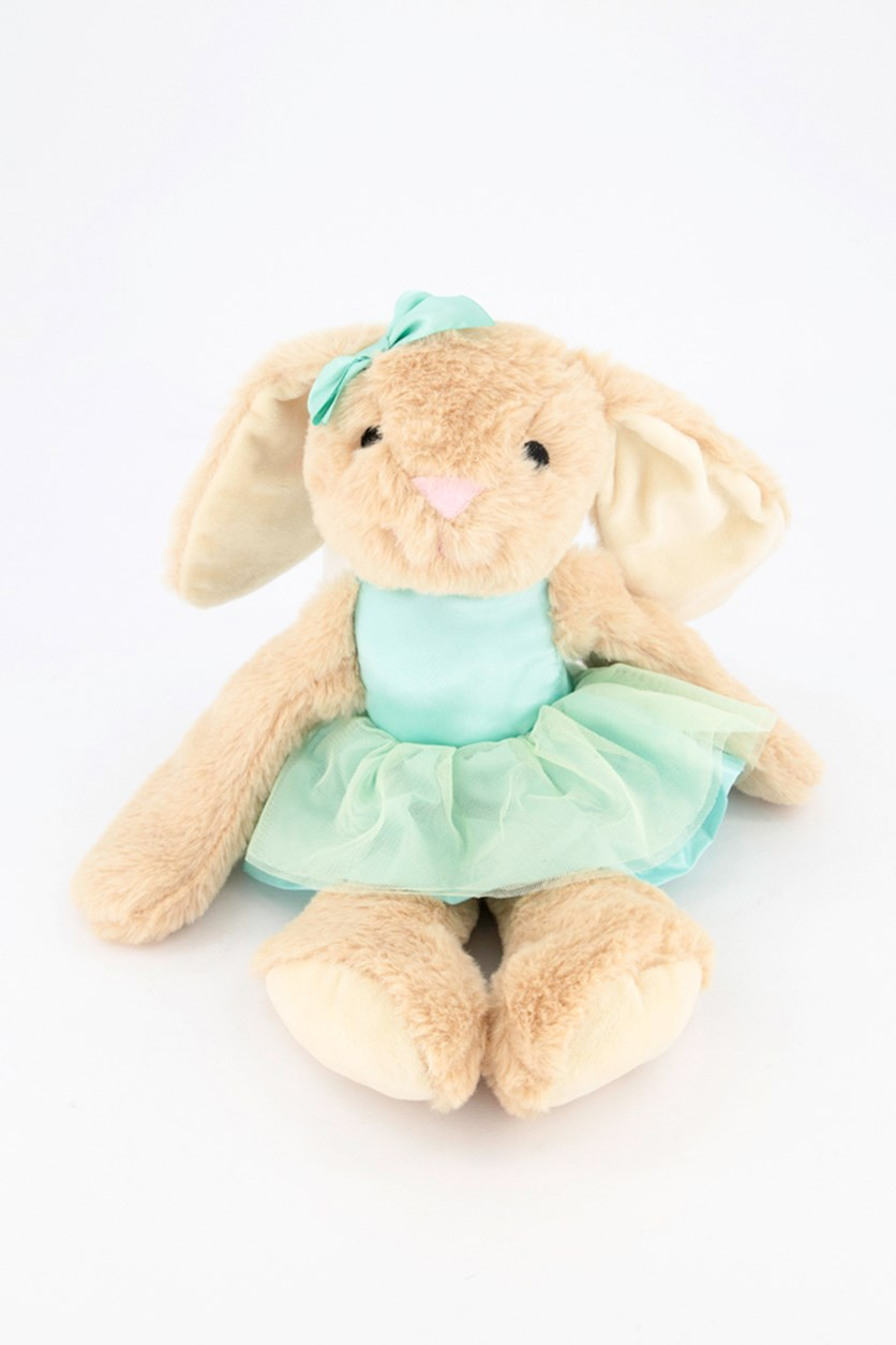 Ballerina Bunny with Rattle Sound Plush Toy, Tan/Turq