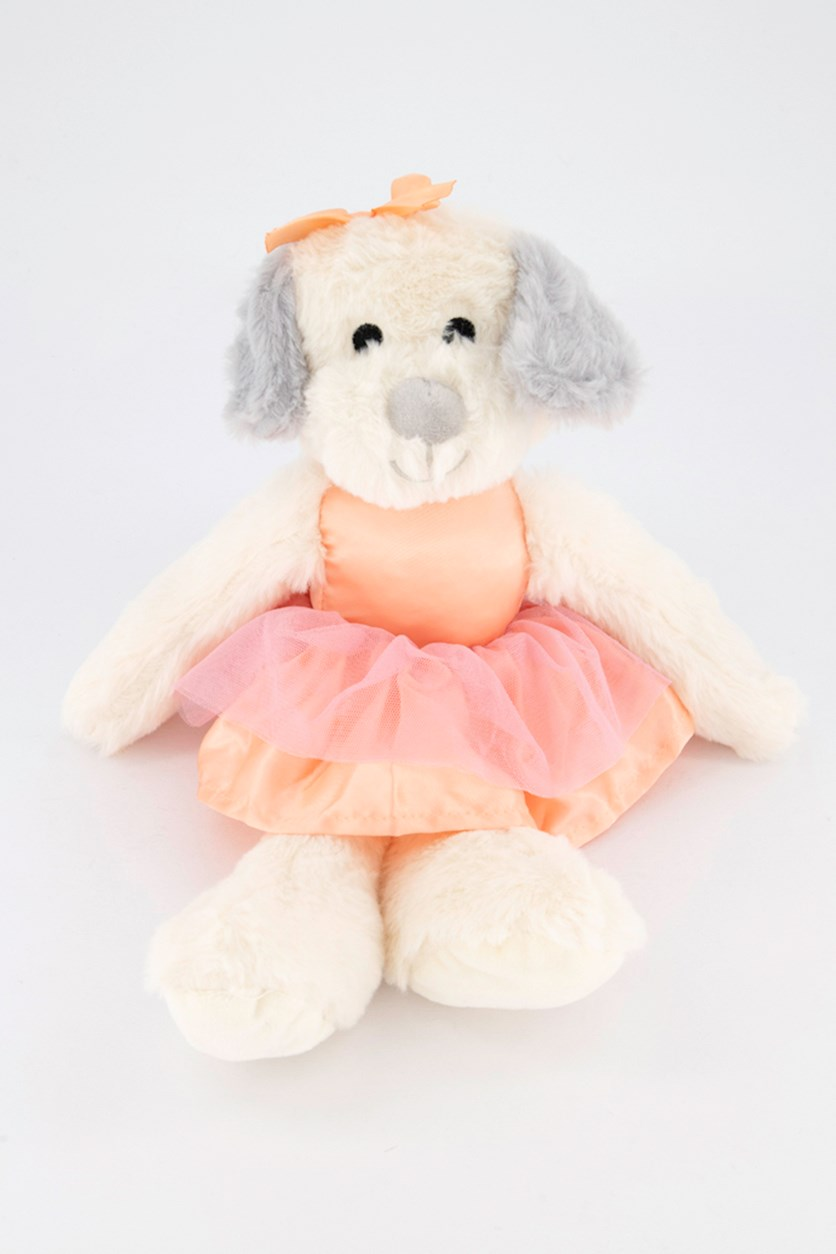 Ballerina Puppy with Rattle Sound Plush Toy, White/Pink
