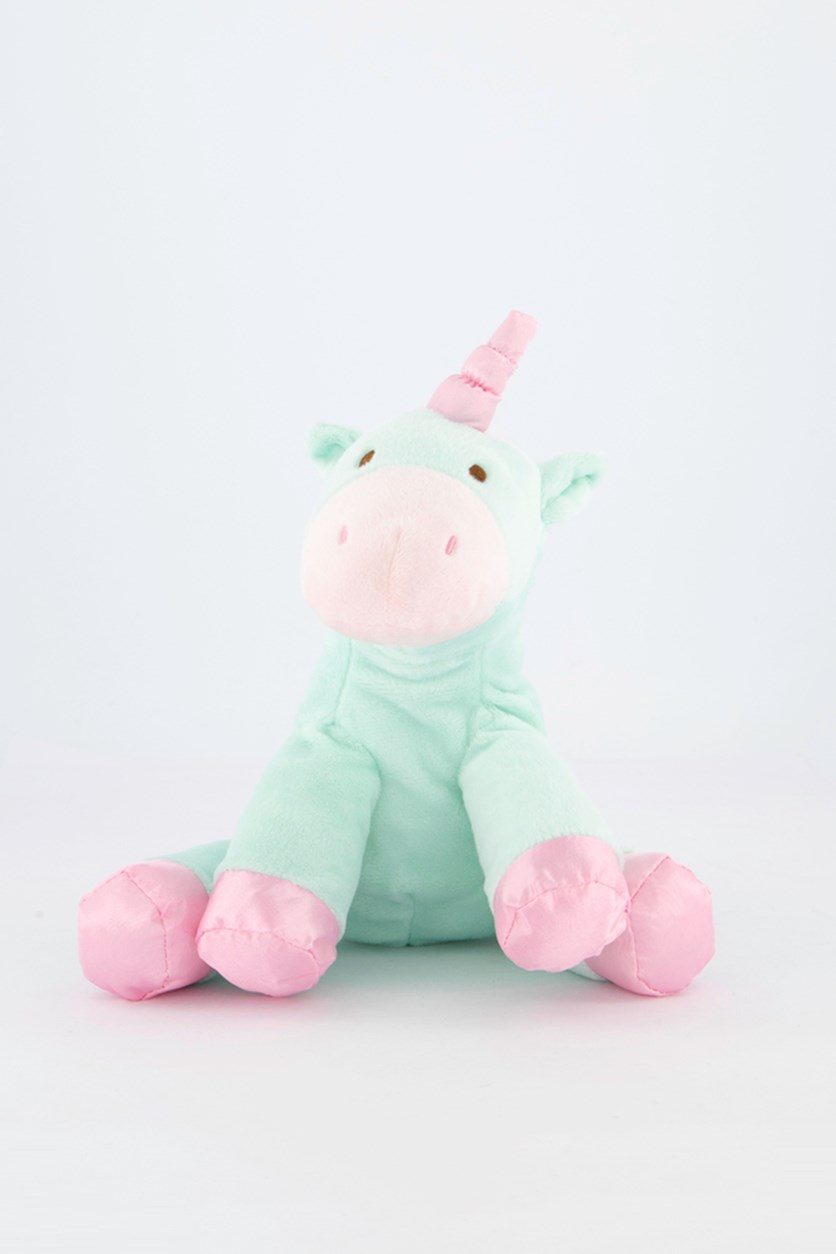 Baby Unicorn with Rattle Sound Plush Toy, Turq/Pink