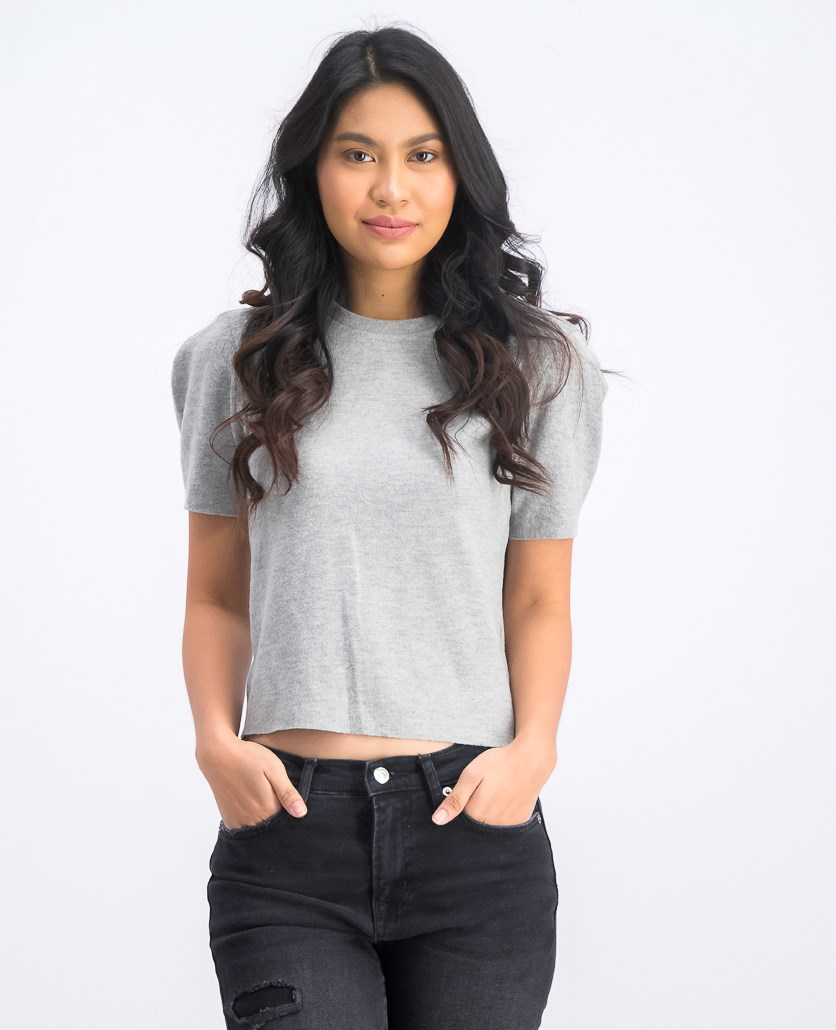 Women's Knitted Cropped Top, Grey