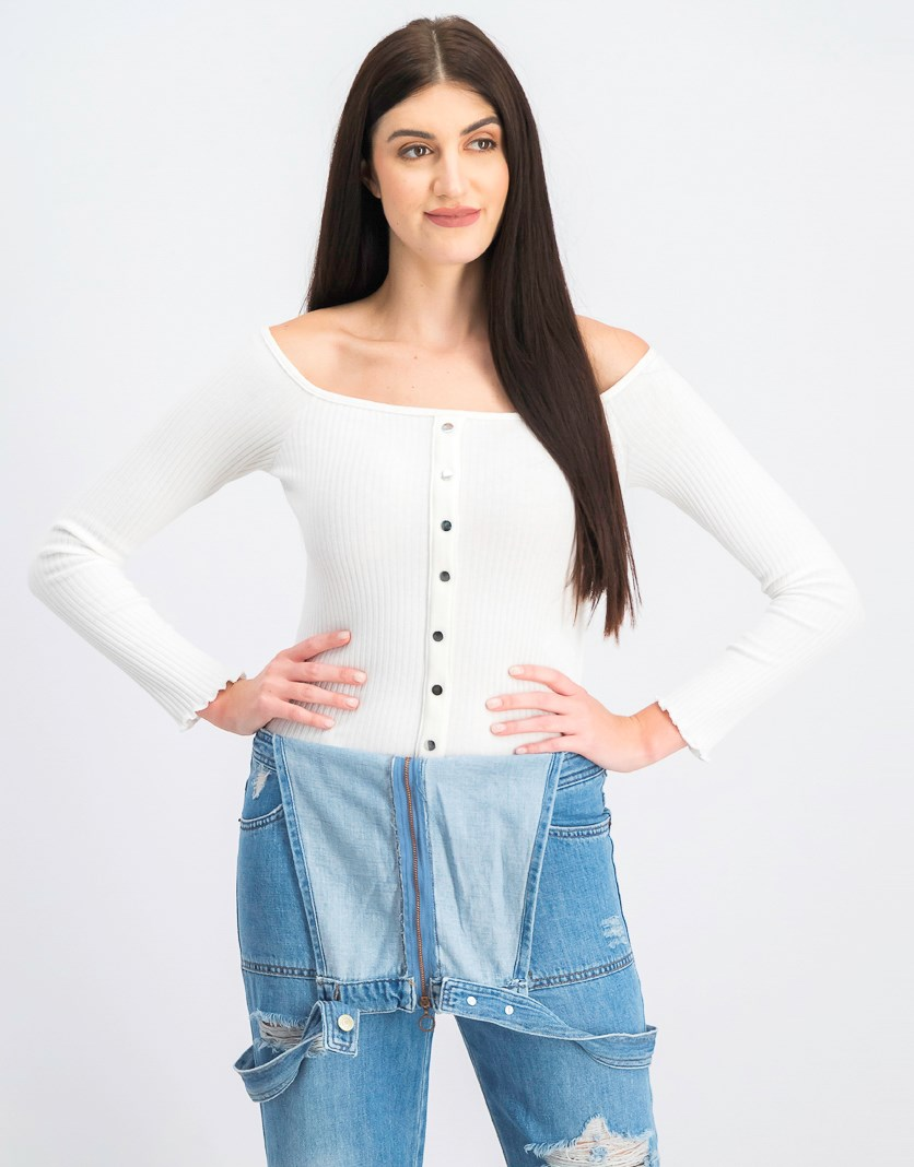 Women's Button-Up Off-The-Shoulder Top, Ivory
